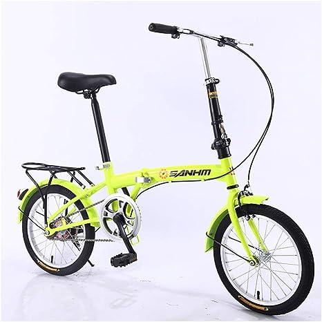 KXDLR Las Bicicletas Plegables Bicicletas Plegables De 16 Pulgadas Hombres Y Mujeres Luz Ultra Portátil De Bicicletas Cómodo Vespa Adultos De La Bicicleta Estudiante De Bicicletas,Verde: Amazon.es: Deportes y aire libre