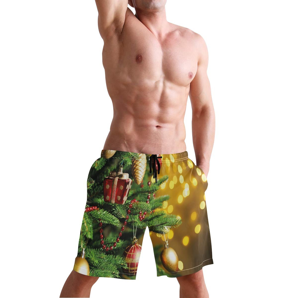 COVASA Mens Summer ShortsChristmasclose Up Decorated Tree Branches On Blurred