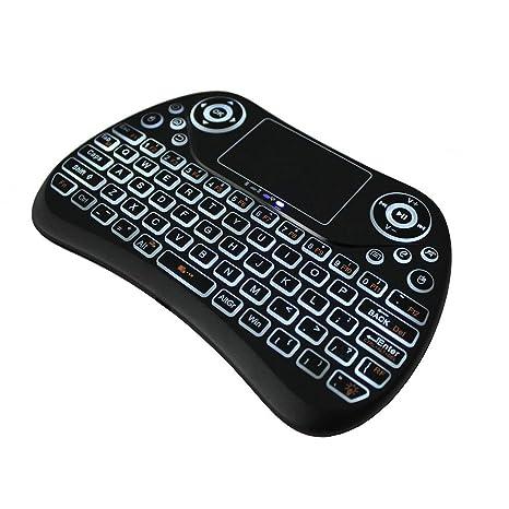Teepao - Teclado inalámbrico con retroiluminación de arco iris 2018, teclado inalámbrico Bluetooth con Touchpad