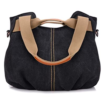 Amazon.com  China Designer Handbags Women Canvas Bags Ladies Casual Vintage  Hobo Canvas Daily Purse Top Handle Shoulder Shopper Handbag Color Black   Shoes b7c5d8b059a1a
