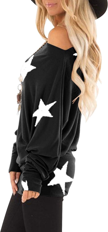 Flying Coniglio Donna Maniche Lunghe Top One Off Shoulder Shirt Baggy Pipistrello Top Camicetta Donna Sciolto Spalla Fredda T Shirt Casual Tunica Top Camicetta
