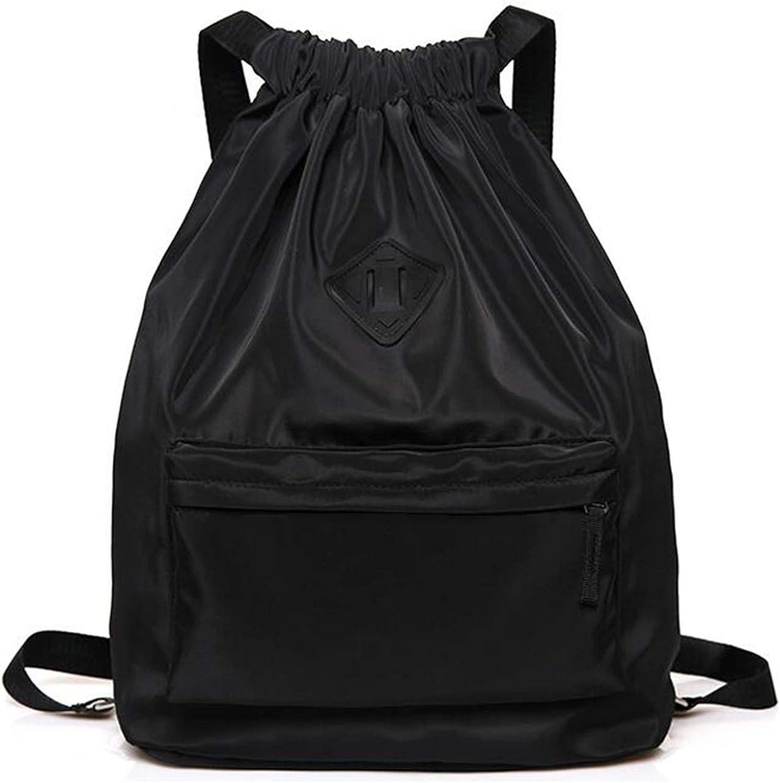 XIAONA Gym Drawstring Backpack, Waterproof Drawstring Sport Bag for Women Men, Lightweight Sackpack Daypacks for Gym Shopping Sport Yoga, Black