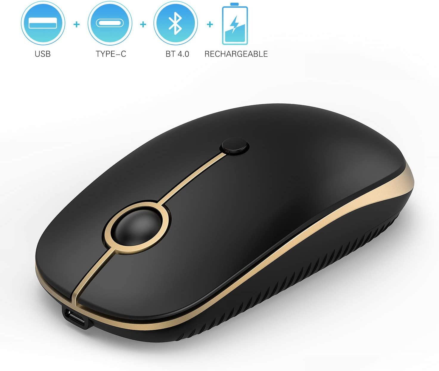 Rechargeable 2.4GHz Wireless Bluetooth Mouse, Jelly Comb Slim Noiseless Optical Wireless Mouse with Bluetooth, USB or Type C Connection,Easy-Switch up to 3 Device MS04