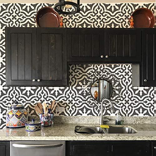 "Toledo Tile Stencil for Painting Spanish Style Tiles - DIY Kitchen Backsplash and Floor Designs (Large 12""x12"")"
