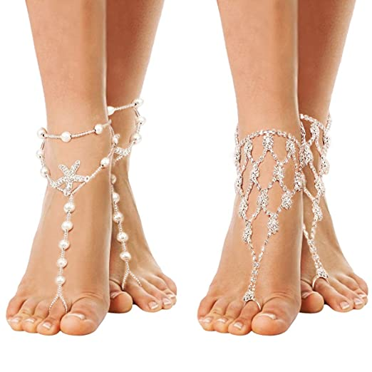 aed01d33ba5a1 Cosweet 2 Pairs Barefoot Sandals Anklet Chain with Rhinestone for Women  Lady's Beach Wedding Foot Jewelry Party Accessories