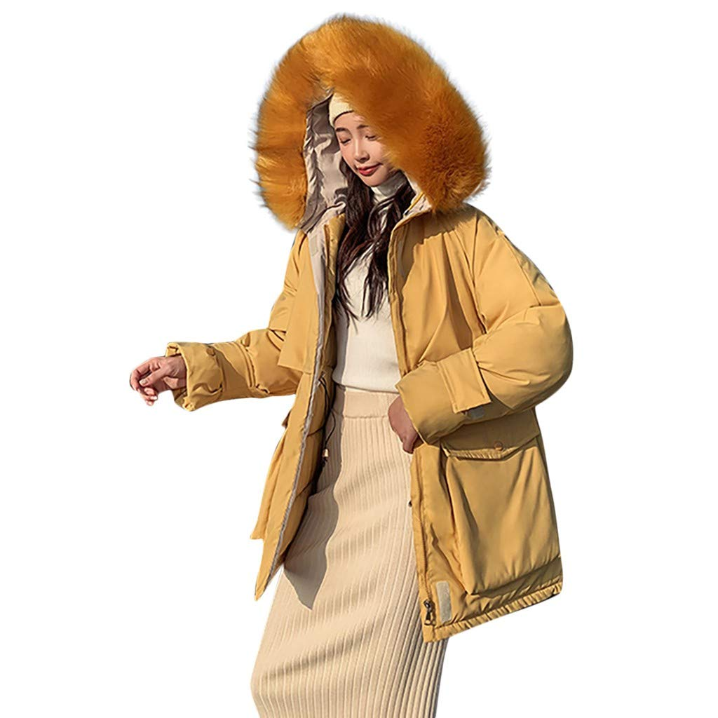 Fashionhe Hooded Down Jackets Warm Outerwear Long Sleeve Overcoat Cotton-Padded Pockets Bandage Winter Coats(Yellow.XXL) by Fashionhe