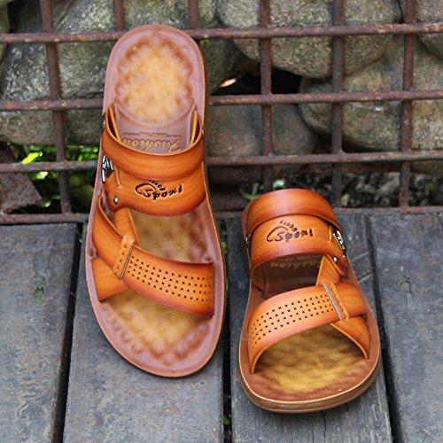 Moda para Sandalias Antideslizante Toe 40 Verano Hombres Chanclas Blanda Cool 39912 Amarillo ZHANGJIA Zapatillas Veraniega Sandalias Inferior YxqIB1Y8