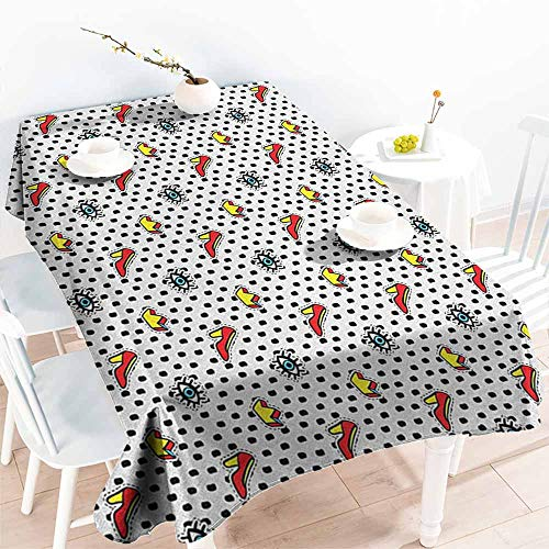 Spill-Proof Table Cover,Retro Blue Eyes Crowns and Womens Shoes Icons Doodle in Cartoon Pop Art 80s 90s Style,Table Cover for Kitchen Dinning Tabletop Decoratio,W60x120L, Multicolor]()