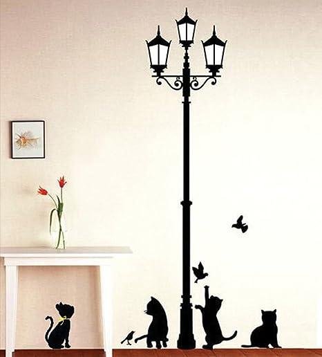 ufengke® Naughty gatos en la calle luz negro gatos pared adhesivos ...