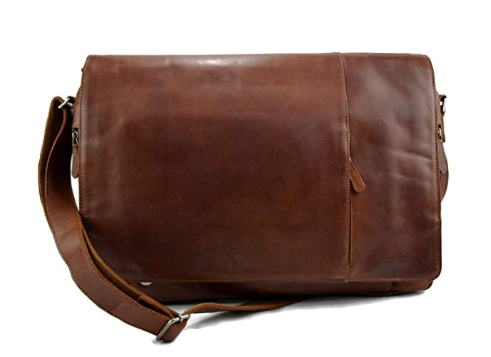c3f7d2d22365 Amazon.com  Genuine italian leather XXL shoulder messenger bag ipad laptop  ladies men notebook leatherbag satchel brown crossbody business executive  bag  ...