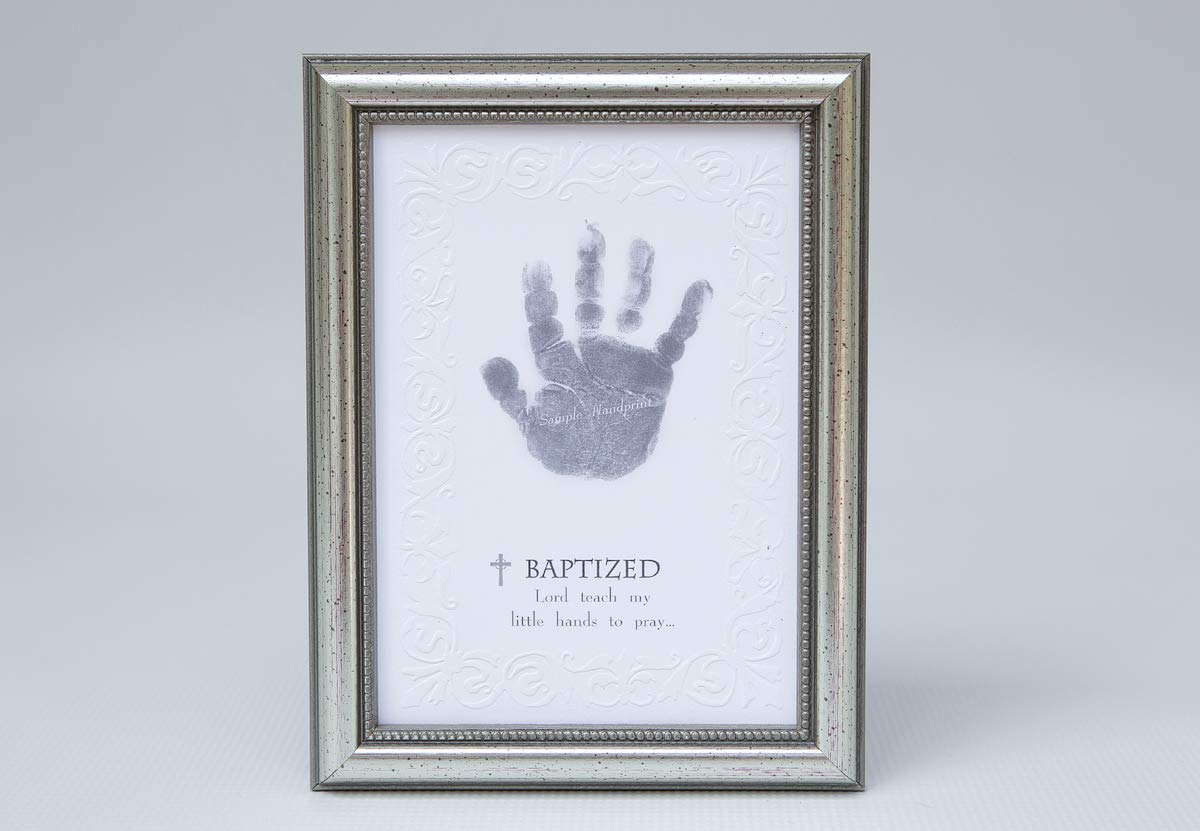 The Grandparent Gift Co. Photo Frame, Baptism Handprint - 5x7 embossed silver wood frame. Made In USA. Embossed edged paper design and sentiment. Room for your own baby's handprint. Recommended 0-18 months. - picture-frames, bedroom-decor, bedroom - 615lqIO5g%2BL -