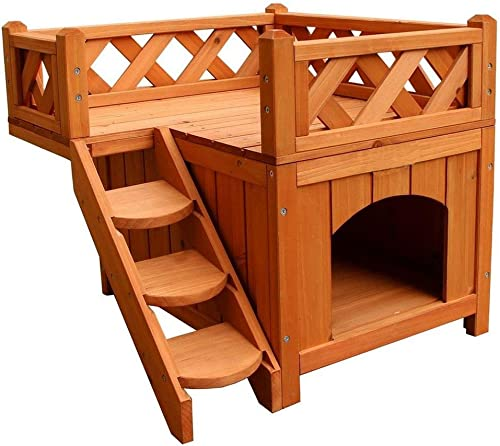 Goesfun Pet Wooden Cat House Living Home Dog Kennel with Balcony Condo Raised Roof Bed Shelter Wood Color Weatherproof for Indoor and Outdoor Use