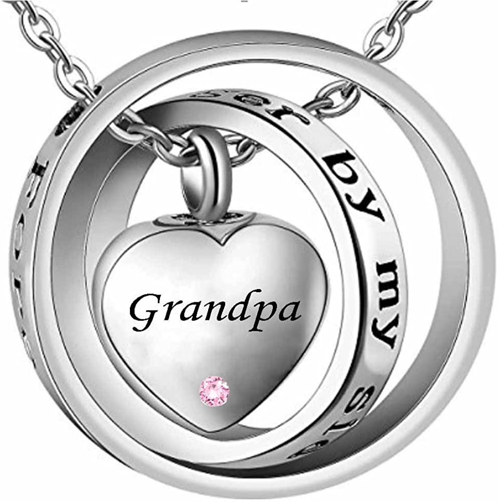 Forever in My Heart Carved Locket Memorial Necklace Keepsake Urn Birthstone Pendant WK Grandpa Cremation Jewelry No Longer by My Side