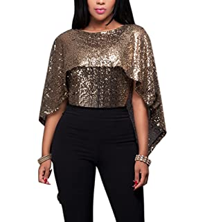 bf0e464273ac73 Latorila Womens Sequin Overlay Tops Sparkle Backless Off Shoulder Cocktail  Evening Capes Blouses