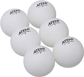 Atemi Norm Tischtennis Ping Pong Bälle (6er Packung) Indoor / Outdoor | Standard 40mm Tischtennis-Set | Verbessert in Abprall, Rundheit, Härte | Orange oder Weiß (Weiß)