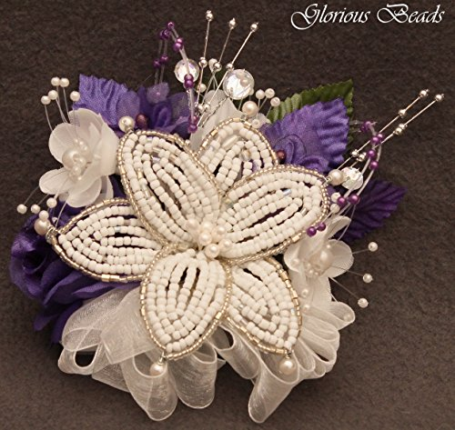 (Corsage pin on Purple BEADED Lily with roses, beads, and rhinestones. Also sold with matching silk boutonniere. Other colors offered in my Amazon store)
