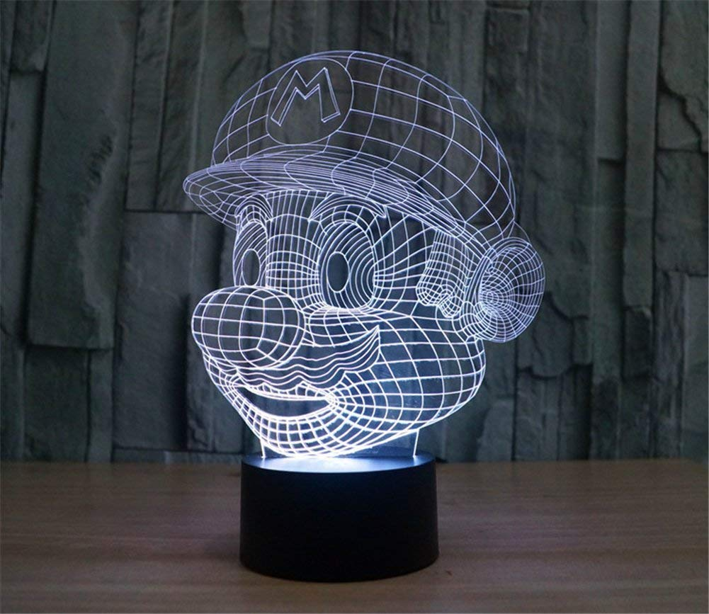 3D Mario Night Light Touch Switch Table Desk Optical Illusion Lamps, 7 Color Changing Lights with Acrylic Flat & ABS Base & USB Cable