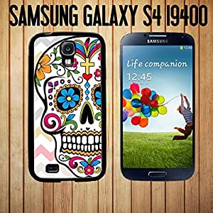 Day Of The Dead Pink Chevron Sugar Skull Custom made Case/Cover/Skin FOR Samsung Galaxy S4-Black- Rubber Case by ruishername