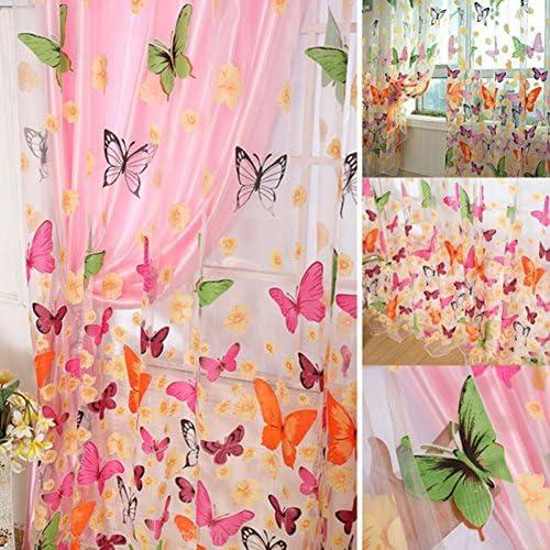 Zzm Tenda di Voile per Finestre Decorate con Farfalle, Lavata, Bellissima, Drappeggi per Decorare la Camera dei Bambini, il Balcone e la Cucina, 1 Pezzo, 1,4M×2,7M