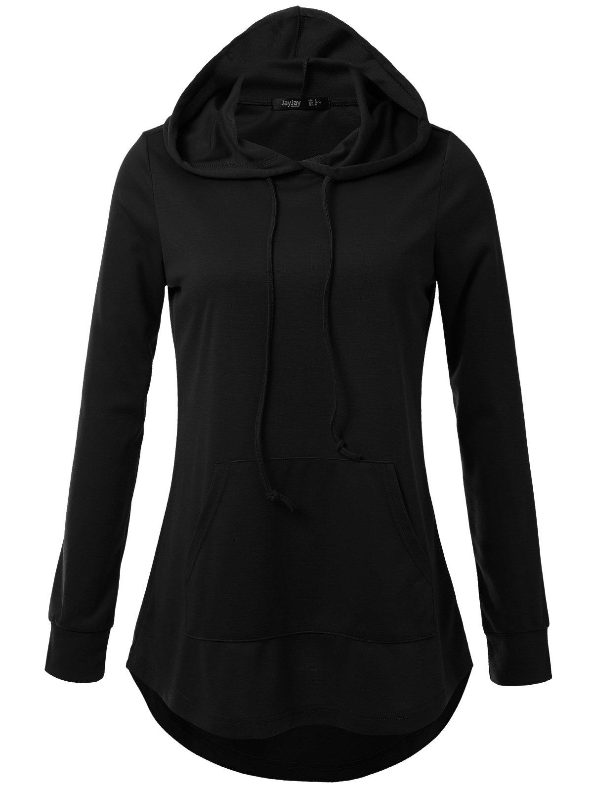 JayJay Women High Low Sweat Casual Long Sleeve Hoodie Lightweight Sweatshirt,Black,2XL by JayJay Active