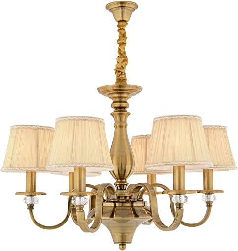 Aiwen 6 Lights Chandelier Cloth made Lampshade Polished Brass Craft H19.2 x W28