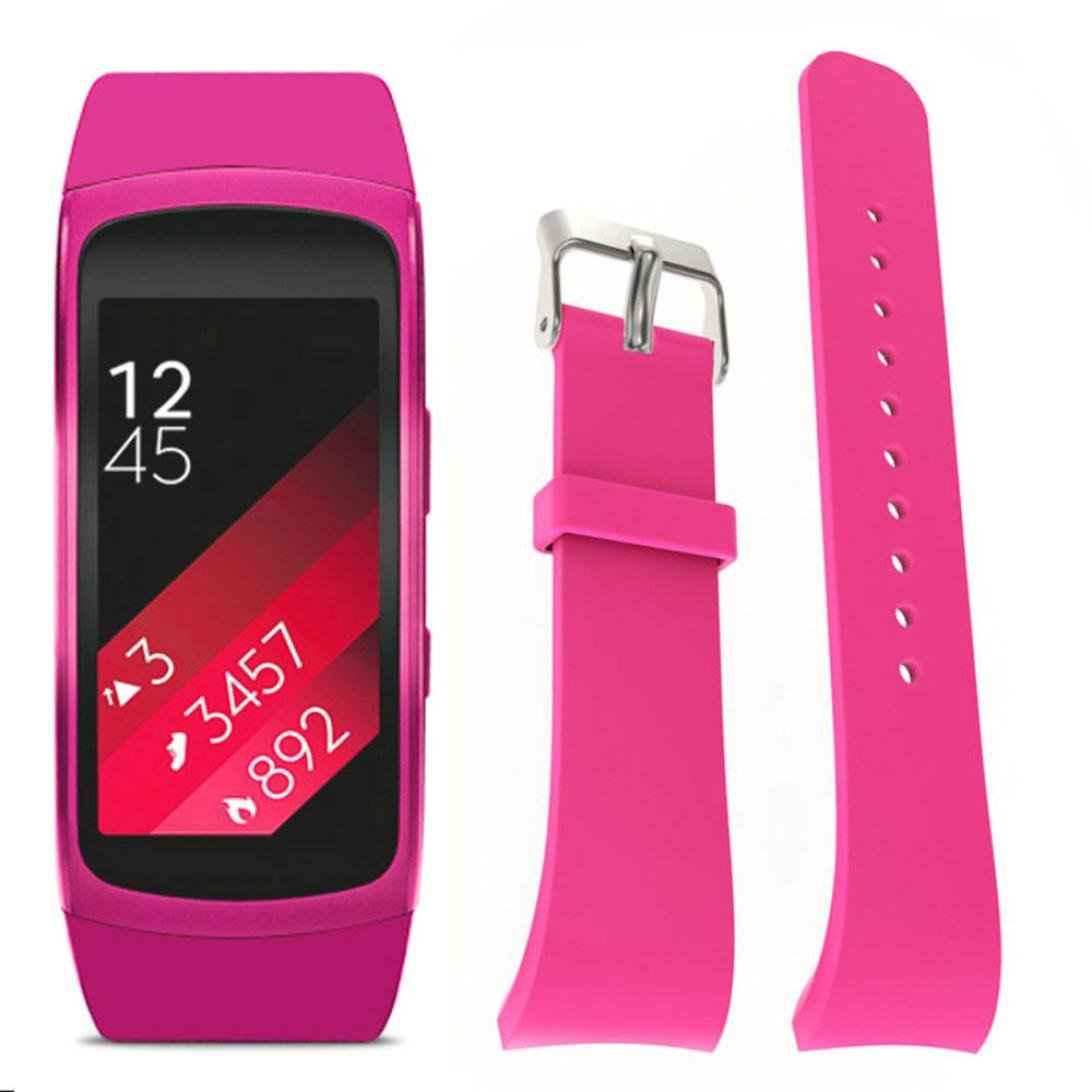 Alonea For Samsung Gear Fit2 Pro Fitness Watch Band, Luxury Silicone Watch Replacement Band Strap (Pink)