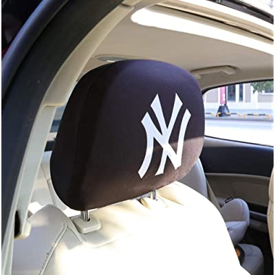 2PCS Car Accessories Headrest Covers for New York Yankees NY, Black Comfortable Printed Logo Head Rest Covers Car Vehicles for NY (for Printed NY): Automotive