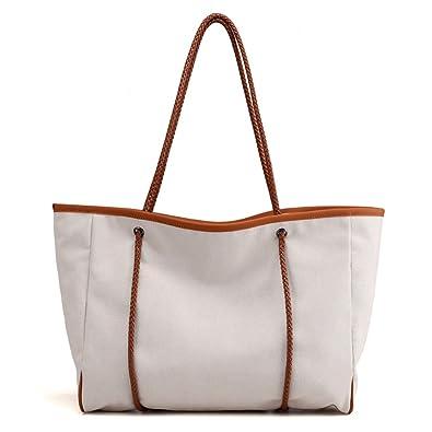 2f53fe92ac16 WETRICS Womens Canvas Beach Bag with Zipper Closure Top Shoulder ...