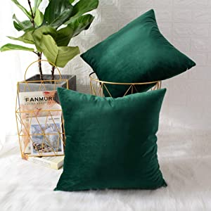 MERNETTE Pack of 2, Velvet Soft Decorative Square Throw Pillow Cover Cushion Covers Pillow case, Home Decor Decorations for Sofa Couch Bed Chair 18x18 Inch/45x45 cm (Dark Green)