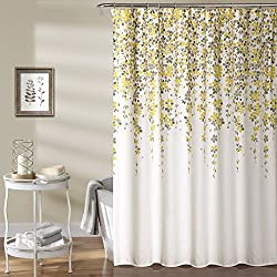 "Lush Decor Weeping Flower Shower Curtain, 72"" x 72"", Yellow/Gray"