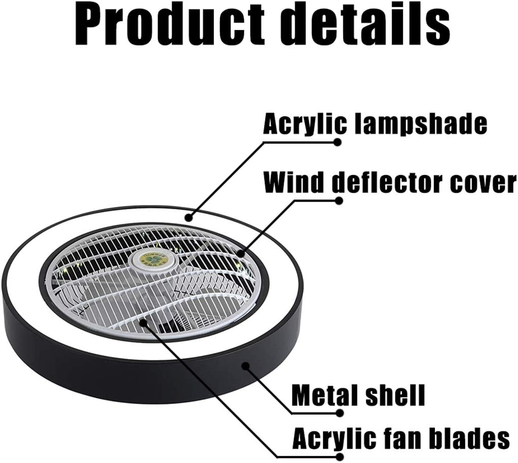 Ceiling Fan with Light, 22 inches LED Remote Control 3-Color Lighting Modes Invisible Acrylic Blades Metal Shell Semi Flush Mount Low Profile Fan