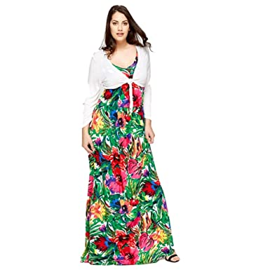 712726937e3 Un-Poco Green Pink Red Purple White Tall Long Tropical Floral Print Maxi  Dress