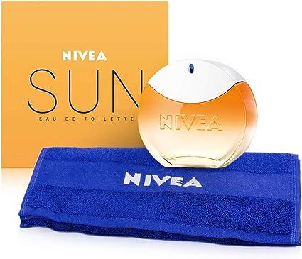 NIVEA SUN EdT Eau de Toilette (1 x 30 ml) con el original aroma de la crema solar NIVEA SUN, perfume para mujer en un icónico frasco de perfume, y