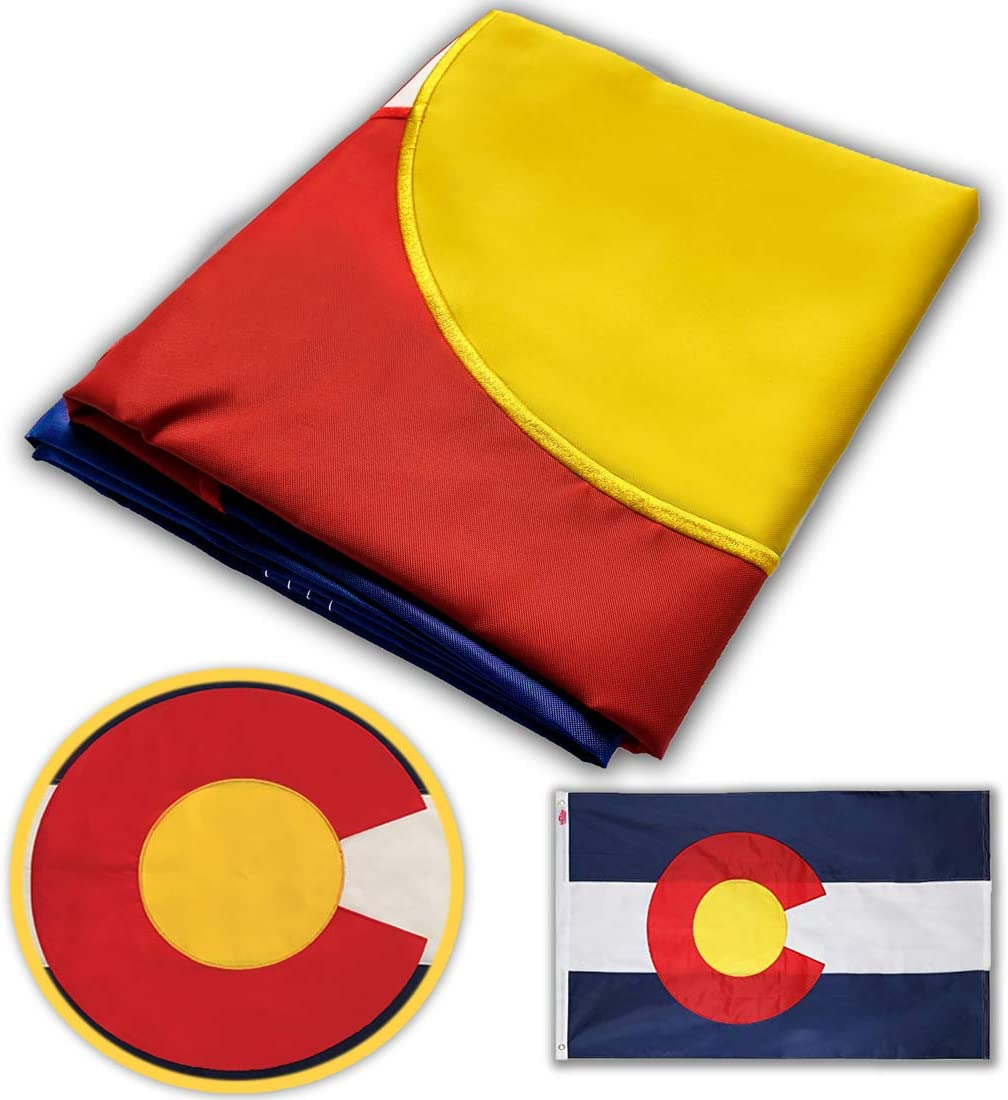 Winbee Colorado State Flag 3x5 Ft with Double Sided Embroidered, Long Lasting Nylon, Sewn Stripes and Brass Grommets, UV Protected, Best 3 by 5 USA Flag and CO Colorado Flags