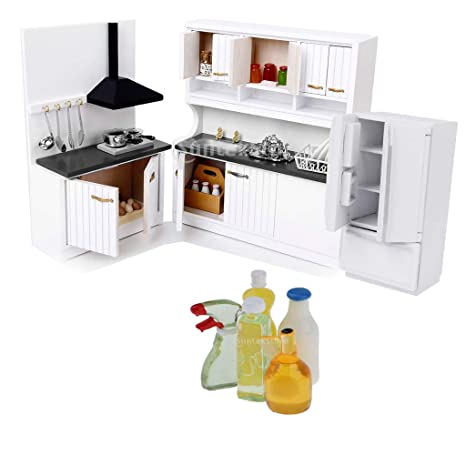 Amazon Com Prettyia Modern Kitchen Set Furniture Model Kit For 1 12
