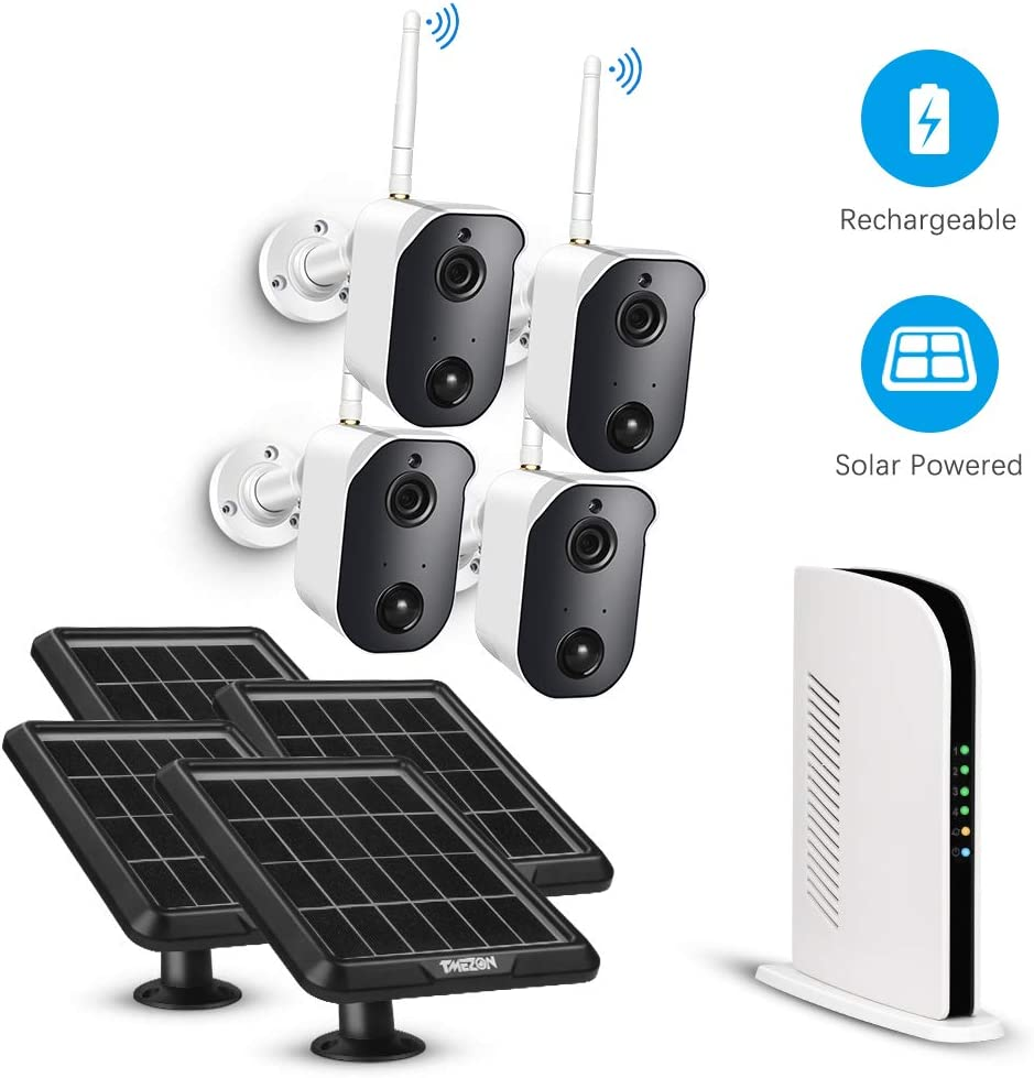Wireless Security Camera System Battery Solar Powered Rechargeable Panel Night Vision WiFi Camera Outdoor 4CH NVR kit 1080p 2-Way Audio Wall Mount with 128G TF Card PIR Motion Sensor TMEZON