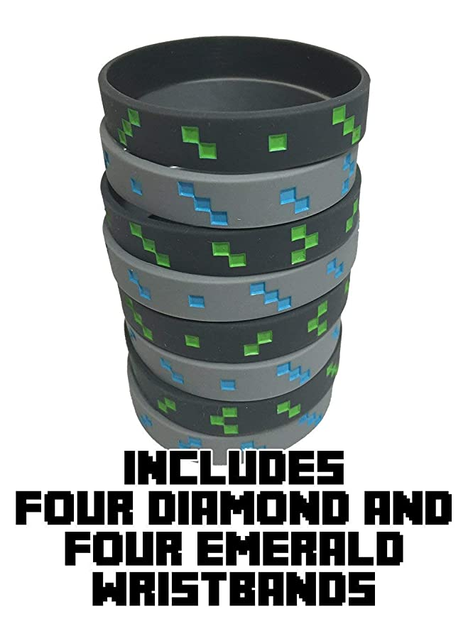 Miner Style Pixel Wristbands (Set of 8) - 4 Diamond and 4 Emerald - Light Gray with Blue and Dark Gray with Green - One Size Fits Most - Silicone ...