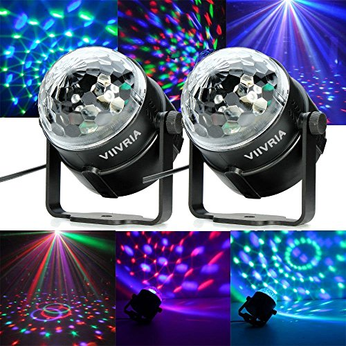 VIIVRIA 2PCS 3W RGB Sound-activated Stage LED Crystal Magic Rotating Ball Effect Led Stage Lights For KTV Xmas Party Wedding Holiday Show Club Pub Disco (Quick Halloween Decorations To Make)