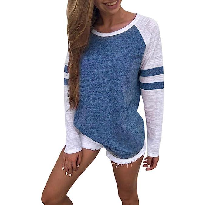 SMARTLADY Mujer Camiseta Manga larga Empalme Blusa Tops otoño invierno Ropa (S, Azul)