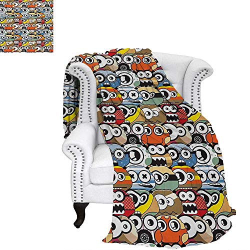 Kids Warm Microfiber All Season Blanket for Bed or Couch Cartoon Monsters Pattern with Comical Eyes and Mouths Humorous Festive Characters Throw Blanket 80