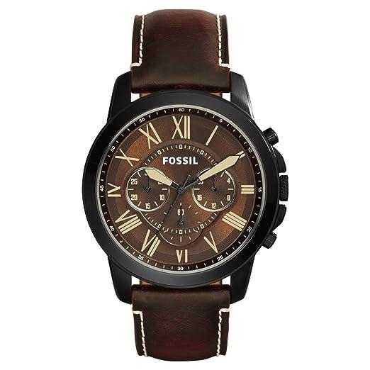 50b57d6570dd Fossil Reloj Cronógrafo para Hombre de Cuarzo con Correa en Cuero FS5088   Amazon.es  Relojes