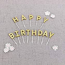 Beurio Birthday Letter Cake Candles, Gold