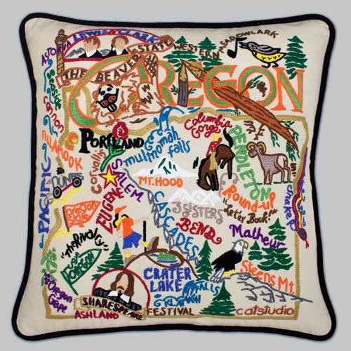 Catstudio Hand-Embroidered Pillow - Oregon by Catstudio