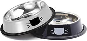 Yasma Cat Bowls Stainless Steel Pet Cat Bowl Kitten Rabbit Cat Dish Bowl with Cute Cats Painted cat Food Dish Easy to Clean Durable Cat Dish for Food and Water (Black Grey)