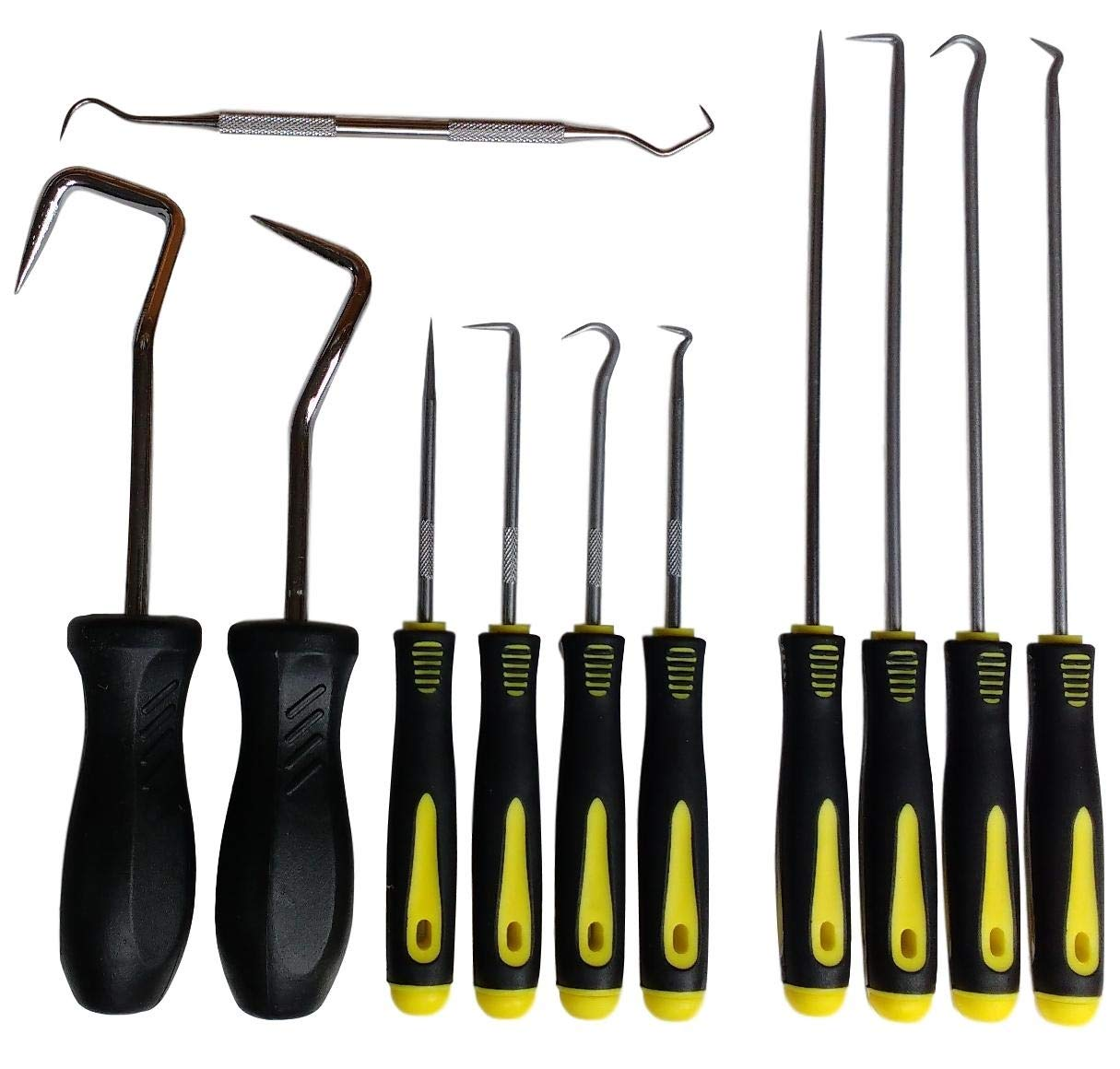 11 Pc. Hook & Pick Set, 4 Long + 4 Short + 2 Big + 1 O-rings Tool. Radiator Hoses, Grab, Retrieve, etc.