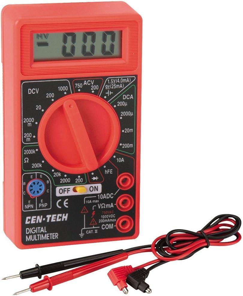 Cen-Tech Digital Amp Ohm Volt Meter Ac Dc Voltmeter Multimeter,Red