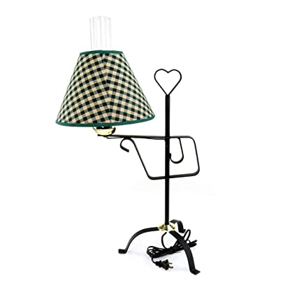 Table Lamps Black Wrought Iron Table Lamp 24 12 H Green Shade