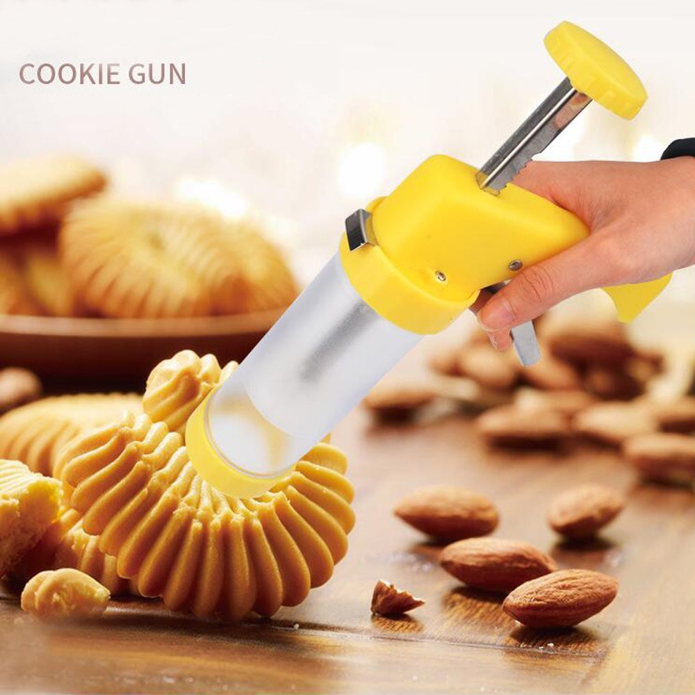 ZJWEI Cookie Press Multifunctional Cookie Press Gun Set with 16 Discs and 6 Icing Tips