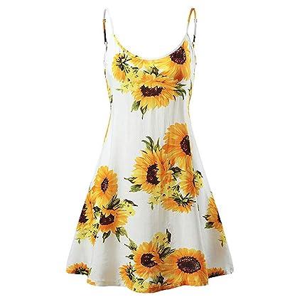 21bfb5f1cd Amazon.com  Women s Sunflower Sleeveless Strappy Summer Beach Swing ...