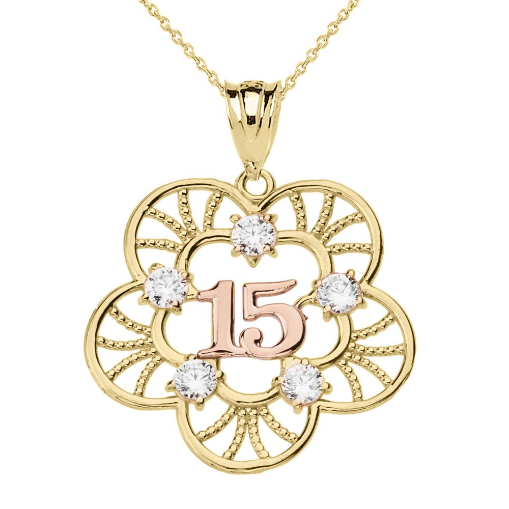 10k Two Tone Filigree Flower Design 15 Anos Quinceanera Pendant Necklace